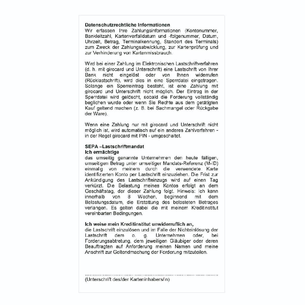 Phenolfreie Thermorollen 57x25x12 - SEPA Lastschrifttext