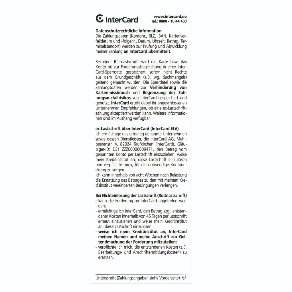 Thermorollen 57 x 25m x 12 - Intercard Lastschrifttext