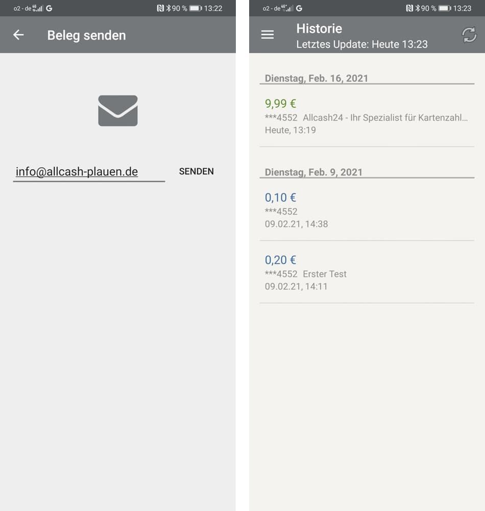 Optipay App - Belege, Abrechnung