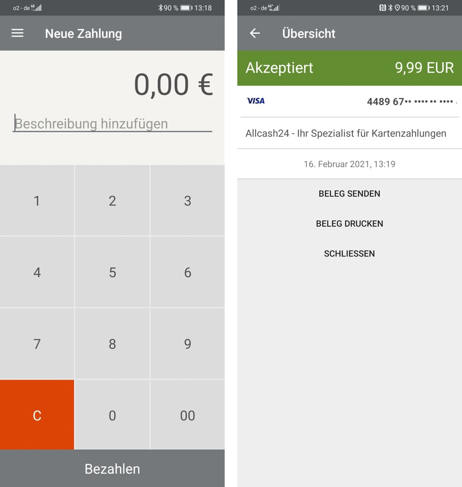 Optipay App - Zahlungsabwicklung